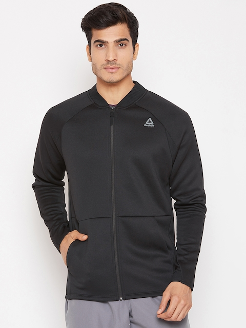 Reebok Men Black Solid Slim Fit OST Training Spacer Track Jacket