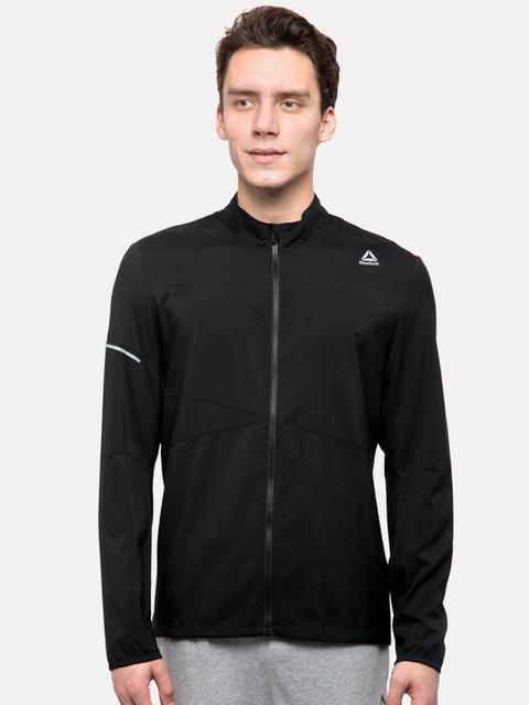Reebok Men Black Solid Woven Lightweight Running Jacket