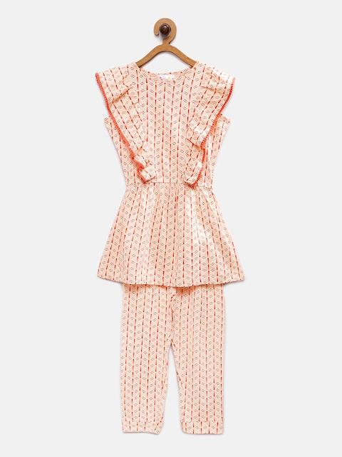 Eimoie Girls Orange Printed Top with Trousers