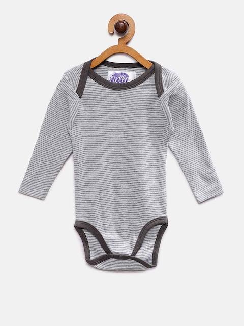EIMOIE Kids Grey Melange Striped Romper