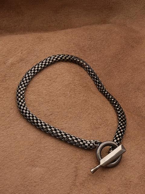 YWC Black Brass Silver-Plated Wraparound Bracelet