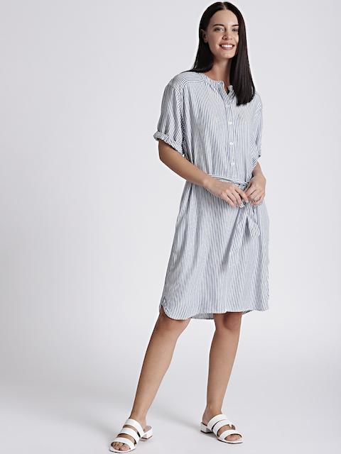 GAP Womens Blue & White Perfect Roll-Sleeve Stripe Shirtdress