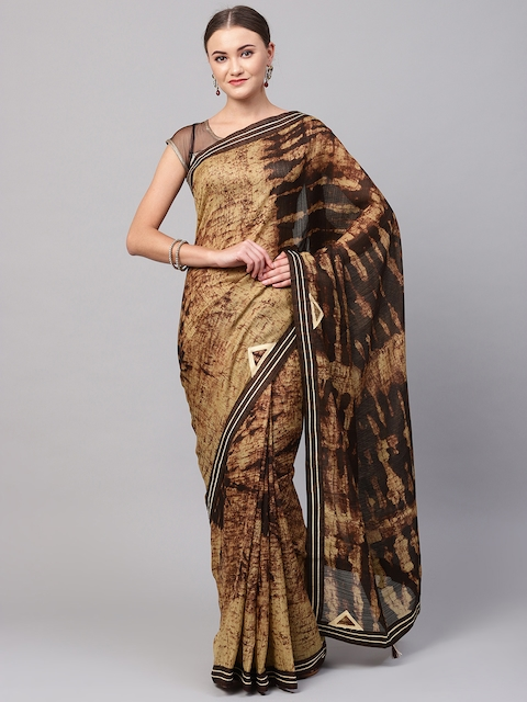 Ishin Beige & Brown Printed Saree