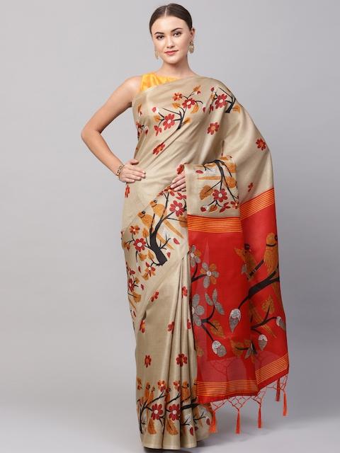 Ishin Beige & Orange Printed Saree