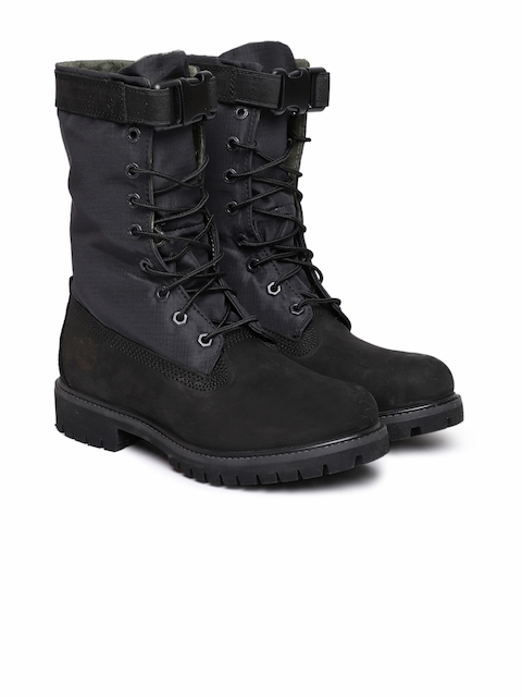 Timberland Men Black Solid HER 6IN PREM Leather High-Top Flat Boots
