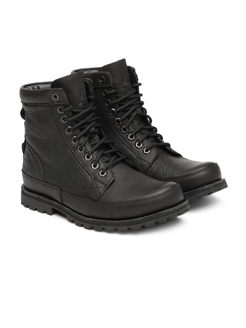 Timberland Men Black Solid EK ORIGNL 6 IN Leather High-Top Flat Boots