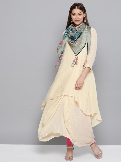 Ritu Kumar Women Cream-Coloured Solid A-Line Kurta with Scarf