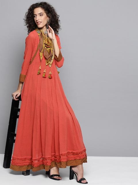 Ritu Kumar Women Rust Red Solid Anarkali Kurta with Scarf