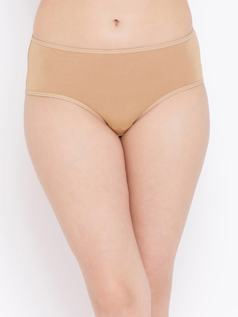 Clovia Women Nude-Coloured Solid Hipster Brief PB0004P24XS