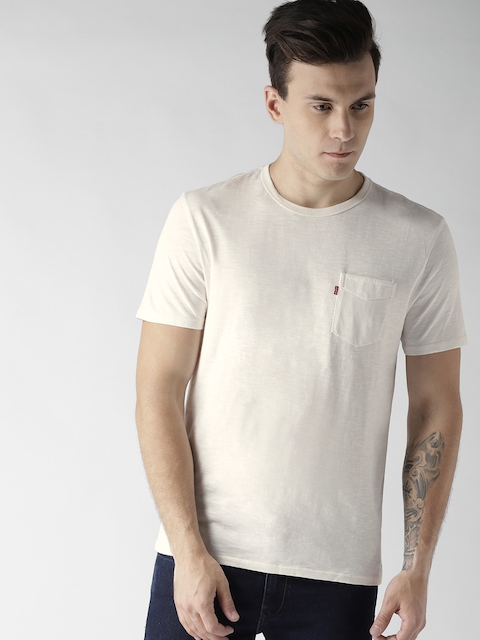Levis Men Off-White Solid Round Neck T-shirt
