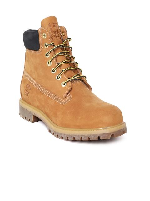 Timberland Men Tan Brown Her 6-Inch Premium Waterproof Flat Boots
