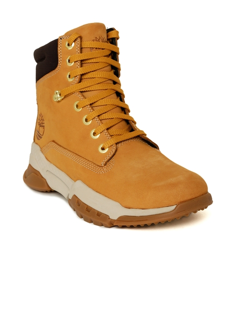 Timberland Men Tan Brown Cityforce 6 Inch Nubuck Mid-Top Flat Boots
