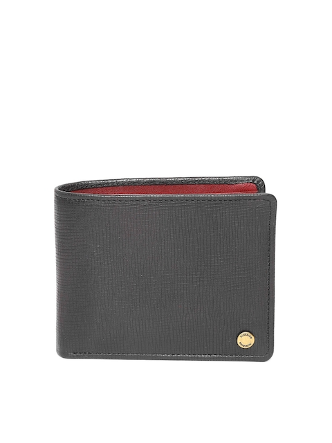 Hidesign Men Black Solid Two Fold Leather Wallet
