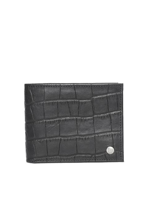 Hidesign Men Black Croc Textured Two Fold Wallet