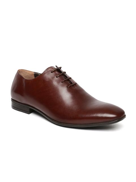 Tresmode Men Tan Brown Solid Formal Leather Derbys