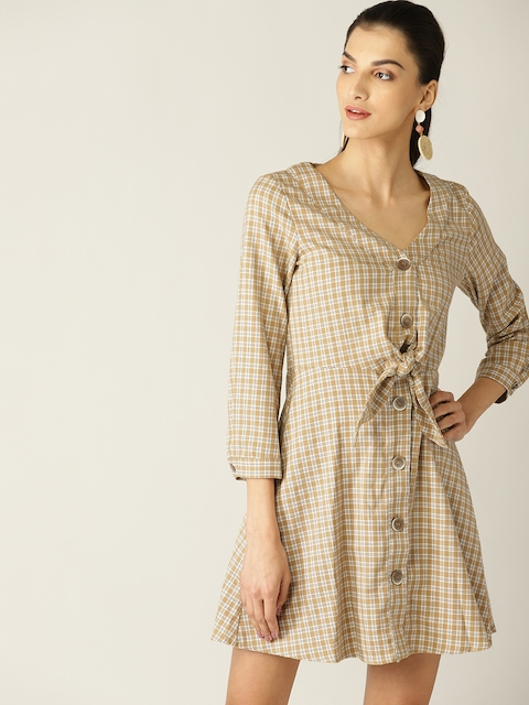 MANGO Women Beige & Black Checked A-Line Dress