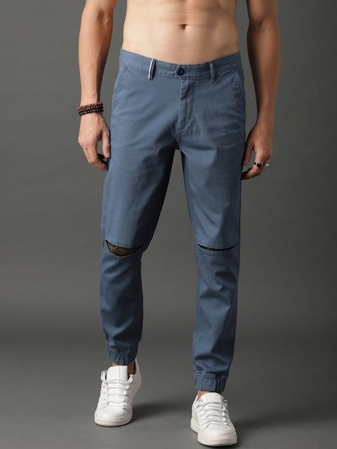 Roadster Men Blue Regular Fit Solid Slash Knee Joggers