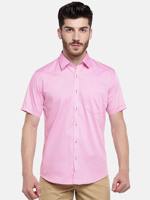 Provogue Men Pink & White Regular Fit Striped Casual Shirt