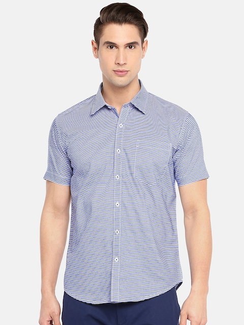 Provogue Men Blue & White Slim Fit Striped Casual Shirt