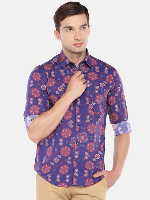 Provogue Men Blue Slim Fit Printed Casual Shirt