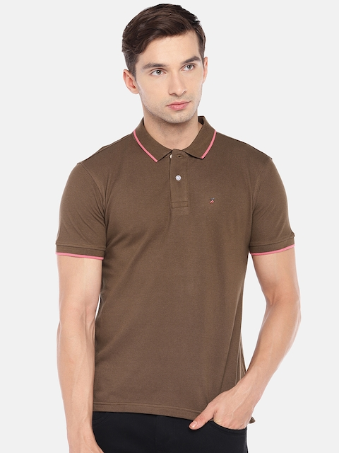 Provogue Men Brown Solid Polo Collar T-shirt