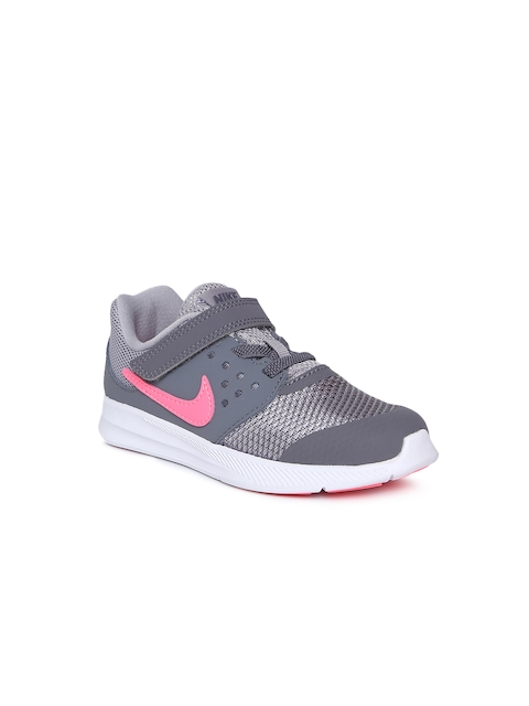 Nike Girls Grey Downshifter 7 (TD) Toddler Running Shoes