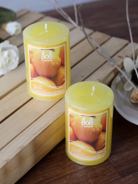 OddCroft Set of 2 Yellow Lemon Scented Pillar Candles