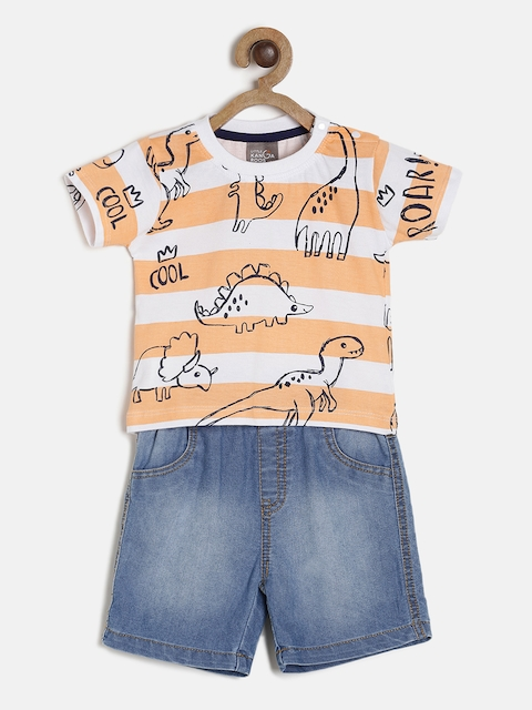 Little Kangaroos Boys White & Peach-Coloured Striped T-shirt with Shorts