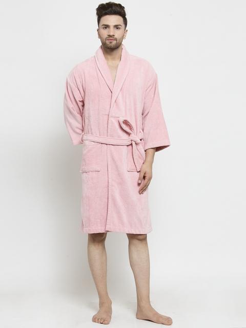 Trident Unisex Pink Solid Bath Robe