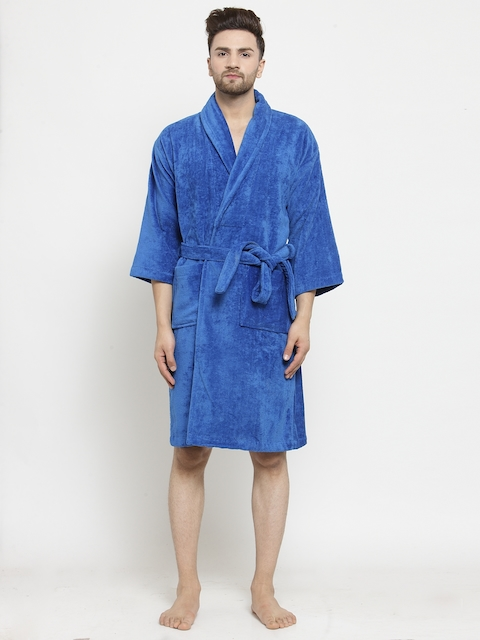 Trident Unisex Blue Solid Bath Robe