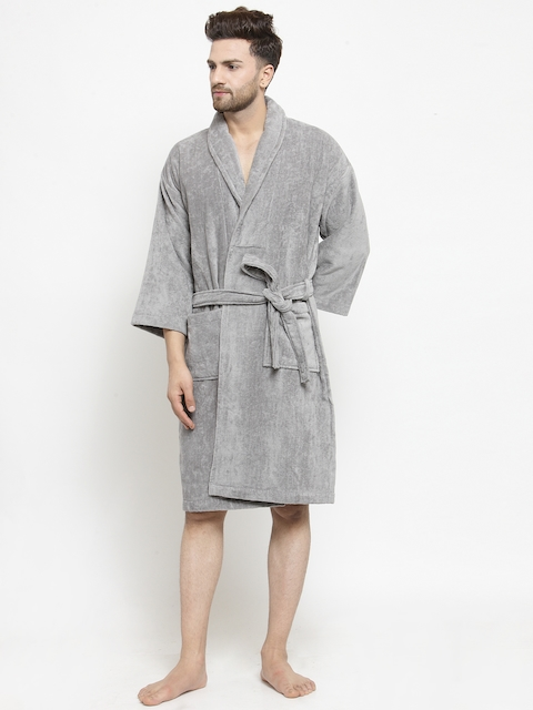 Trident Unisex Grey Solid Bath Robe