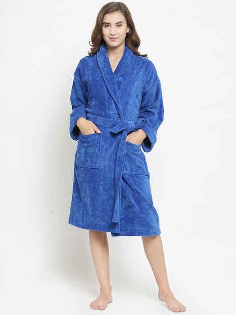 Trident Women Blue Solid Bath Robe
