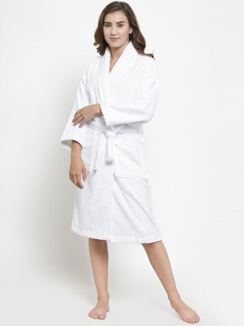 Trident Women White Solid Bath Robe