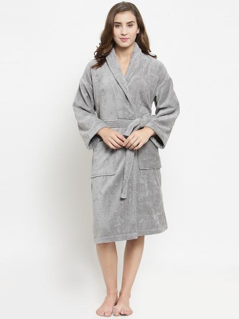 Trident Women Grey Solid Bath Robe