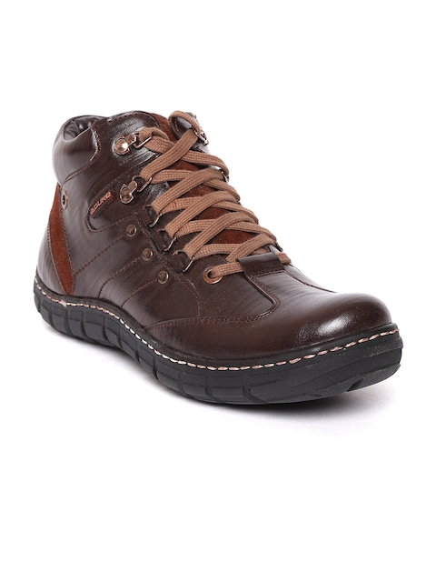 Duke Men Coffee Brown Solid Mid-Top Flat Boots