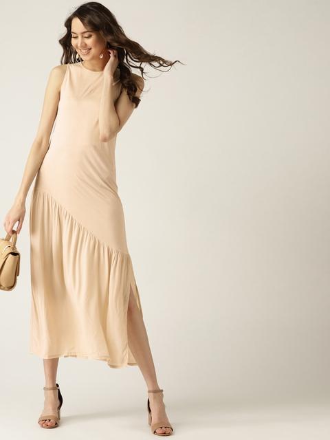MANGO Women Beige Solid A-line Dress