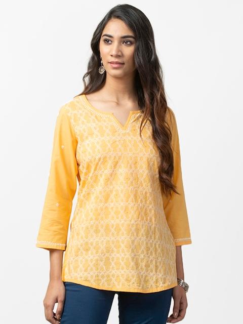 Fabindia Women Yellow Embroidered Kurti