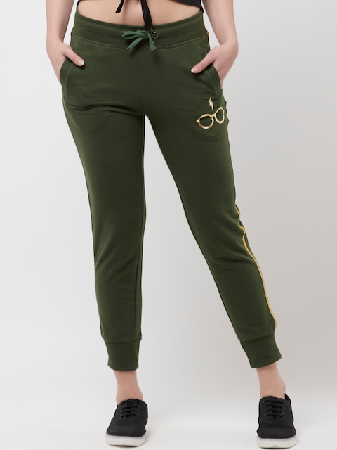 Harry Potter Women Olive Green Solid Straight-Fit Joggers