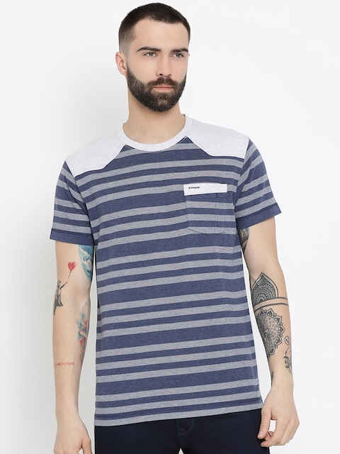 AXMANN Men Navy Blue Striped Round Neck T-shirt