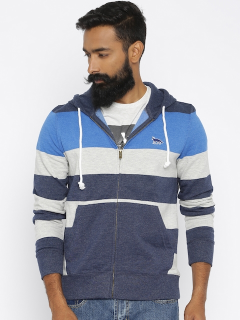 Fox Blue & Grey Striped Hooded Sweatshirt