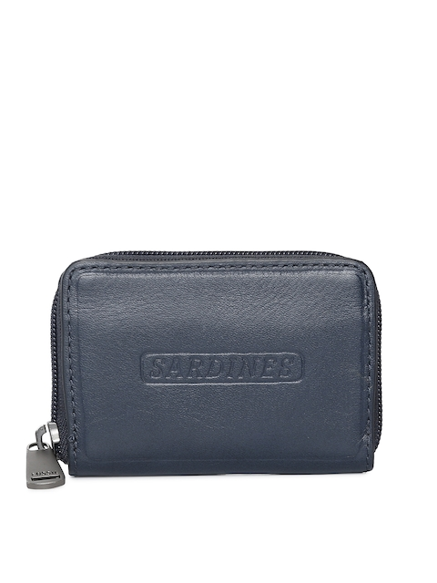 Fossil Men Navy Blue Solid Zip Around Leather Wallet