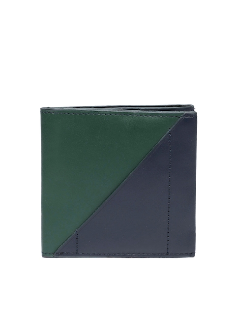 Fossil Men Navy Blue & Green Colourblocked Leather Two Fold Wallet