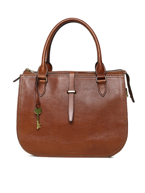 Fossil Brown Solid Handheld Bag