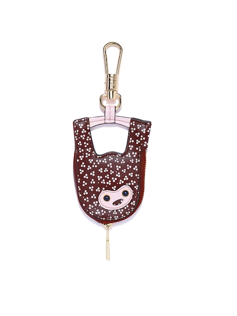 Fossil Women Burgundy & Gold-Toned Printed Leather Key Chain