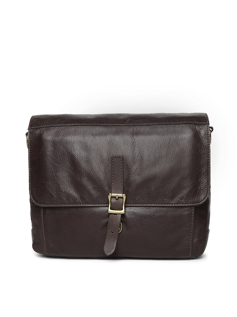 Fossil Brown Solid Leather Shoulder Bag