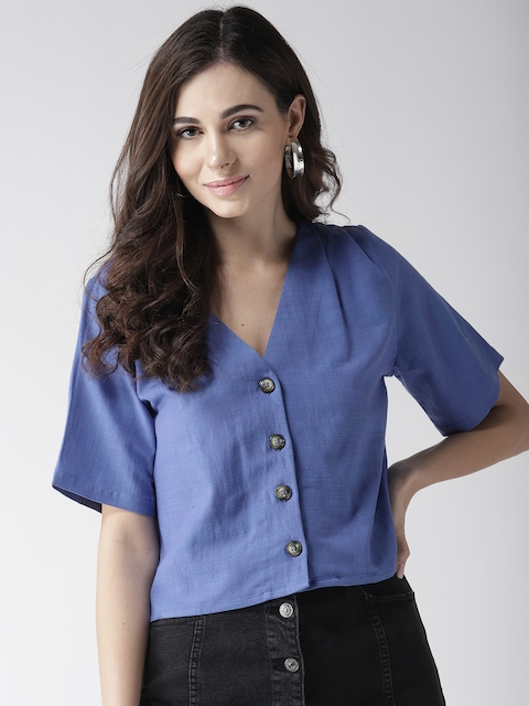 SCOUP Women Blue Solid Boxy Top