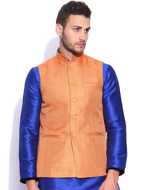 Manyavar Orange Nehru Jacket  available at myntra for Rs.2999