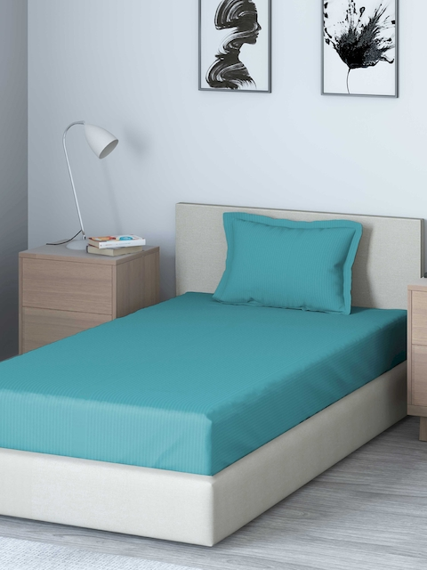 DDecor Blue Solid 400 TC Cotton 1 Single Bedsheet with 1 Pillow Covers