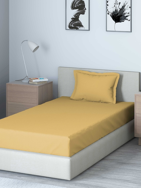 DDecor Beige Solid 400 TC Cotton 1 Single Bedsheet with 1 Pillow Covers
