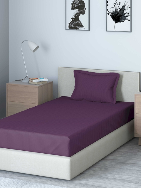 DDecor Purple Solid 400 TC Cotton 1 Single Bedsheet with 1 Pillow Covers